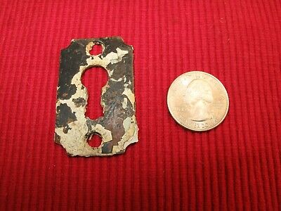 Antique Plain Cast Iron Escutcheon Keyhole Cover Desk Chippy Paint Skeleton Key