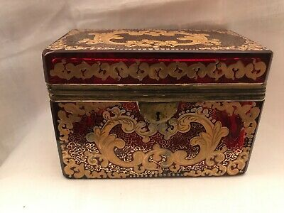 Very attractive antique large rectangular Bohemian ruby red glass box
