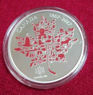 Canadian Icons Maple Leaf $50 5OZ Pure Silver Coin 1867-2017 PrivyMark
