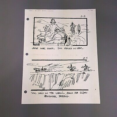 BACK TO THE FUTURE 3 Production Used Storyboard - Doc, Marty & Clara B-8