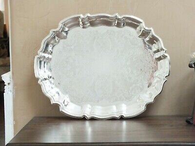 Vintage Leonard Silver  Footed Tray,  Ornate  Engraved