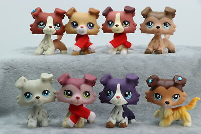 8 Lot Authentic Littlest Pet Shop LPS Collie Dog Puppy Animals With Magnet Rare