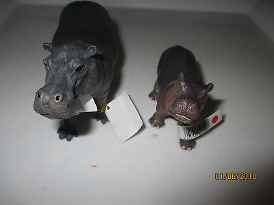 2 NEW  Papo Wild Animal Figures  HIPPO   AND BABY CALF --LOCATION BIN 2 TOYS