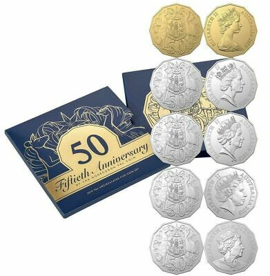 2019 50 Cent Set - 50Th Anniversary - Includes Gold Plated Coin - 5 Coins - Ram