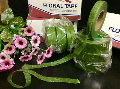 "12 ""Green Florist Tapes"" Sticky Stretchy Corsage-Bouquets-Stems Flowers Crafts"