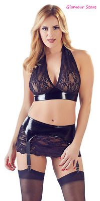 Sexy Completo Set Nero Top+Gonna+Reggicalze S, M, L, XL Vinile Pizzo GLAMOUR