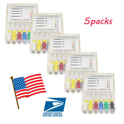 5boxes USA H-Files 25mm #015-040 Stainless Steel Dental Root Canal File Hand use
