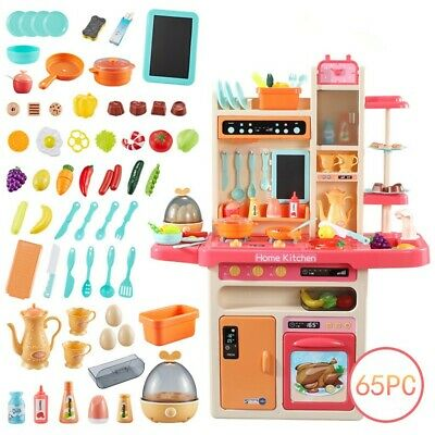 65PCS Kitchen Playset for Toddler Pretend Play Spray Steam Water Toy Cooking Set