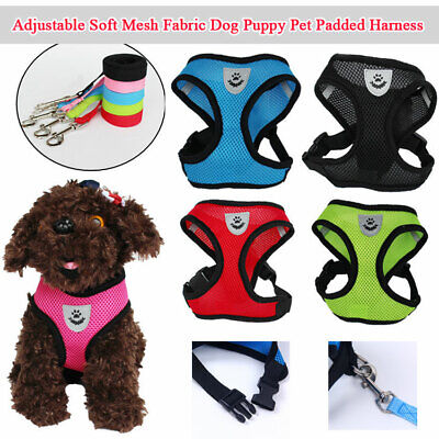 Comfort Mesh Padded Harness Adjustable Dog Puppy Comfortable Harnesses Free Rope
