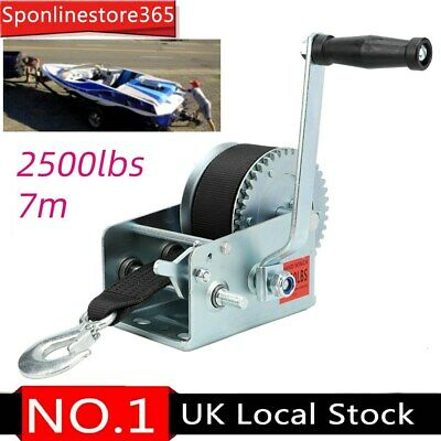 2500LBS Hand Winch 7M Polyester Strap 2 Gear Winch 1100KG For Cars Boats Trailer