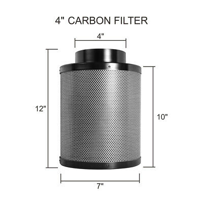 4 Inch Filtaroo Carbon Filter - Hydroponic Vent Duct Fan Grow Tent Ventilation