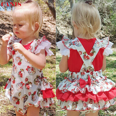 Christmas Toddler Newborn Baby Girls Ruffle Xmas Romper Jumpsuit Outfits 0-24M