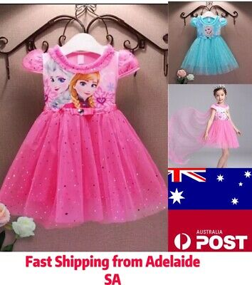 NEW Girl Princess Dress Anna Elsa Costume Party Birthday Kids Children Size 1-8