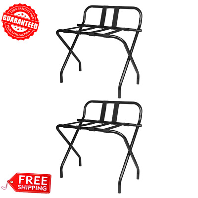 Black Folding Heavy Duty Metal Luggage Rack with Guard and Rubber Feet