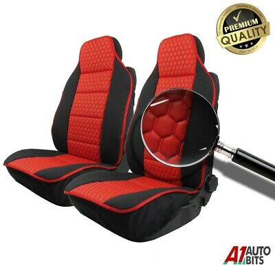 Front Luxury Red Leatherette & Black Fabric Seat Covers For Toyota