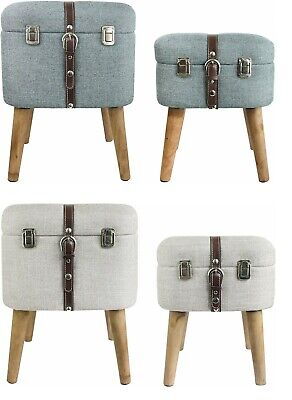 Set of 2 Upholstered Linen Square Foot Rest Footstool Ottoman Pouffe Storage