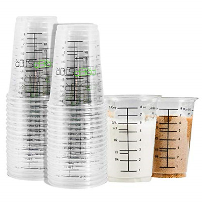 Pack of 20 Disposable Measuring Cups for Resin 8oz Clear Plastic Graduated mi...