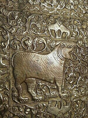ornate gilt plaque repossue relief lion chased wall art metal mythical antique