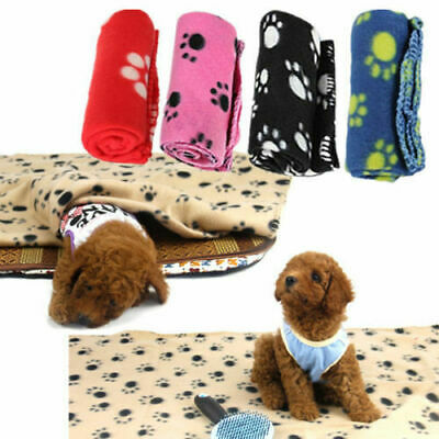 Pet Blanket Dogs & Puppy Cat Paw Print Soft Warm Fleece Bed Travel Basket Car Uk
