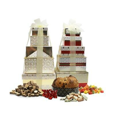 Festive Tower Of Treats Christmas Sweets Hamper Fudge Panettone Red Sweet Gift