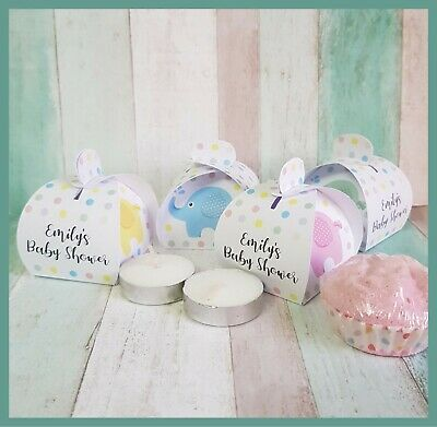 Personalised Baby Shower tealight candle or favour boxes - Multipacks
