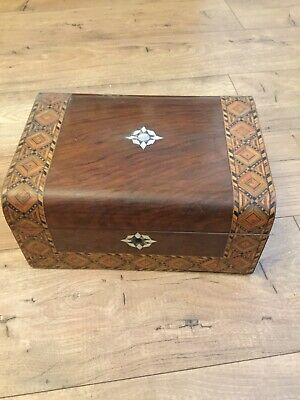 Victorian Burr Walnut Letter/Vanity Box & Mother Of Pearl Inlay (No Key)