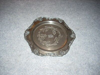 """Vintage Forbes Silver Company Quadruple Plated Floral  Dish 7.25"""""""