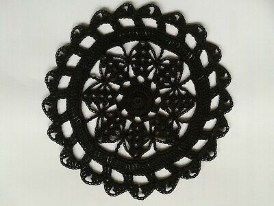 "Crochet Cotton 7"" Doily / Coaster in BLACK  for Table or Dreamcatcher"