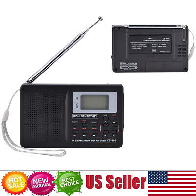 AM FM Pocket Radio Portable SW/LW/TV Sound Full Frequency Receiver With Clock