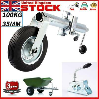 Trailer Jockey Wheel 35mm Shaft Tyre+ Clamp for Trailers and Caravans 100KG Load