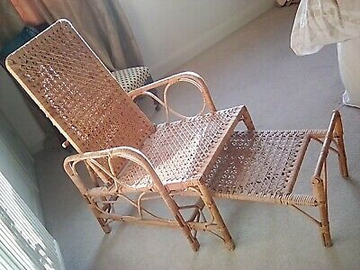 Incredible Antique Bohward Cane Recliner Steamer Chair Sliding Machost Co Dining Chair Design Ideas Machostcouk