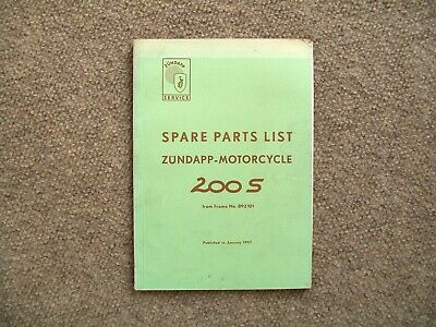 1957 Zundapp 200S motorcycle spare parts list   (used-not a reprint)