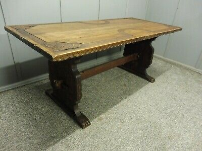 Victorian Carved Oak Refectory Dining Table