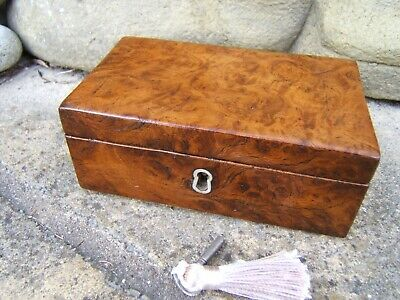 Terrific 19C Antique Solid Burr Elm Jewellery Box - Fab Interior