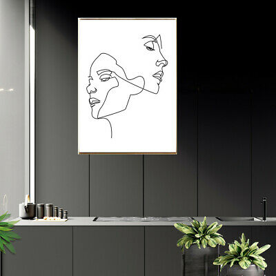 Line Drawing Woman Face Abstract Body Canvas Print Poster Modern Home Art Decor