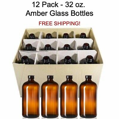 12 PACK - 32 oz Boston Round Air Tight Seal Amber Glass Growler Kombucha Bottles
