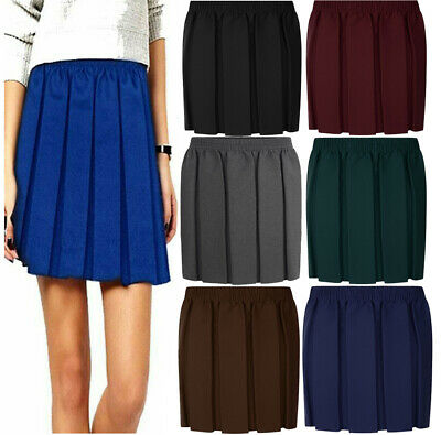 Girls Box Pleat School Uniform Skirt Fully Pleated Full Elasticated Waist