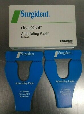 Surgident Articulating Paper- Blue/Red (12 Sheets Per Book- 8 Books ) -New