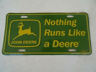 John Deere Official NOTHING RUNS LIKE A DEER Logo Embossed Metal License Plate