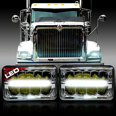 Pair of Projector LED Headlights Hi Low Bulbs for International 4700 4900 8100