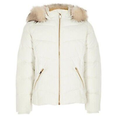 River Island Mini Girls Cream Faux Fur Trim Padded Coat Size 3-4 Years Old