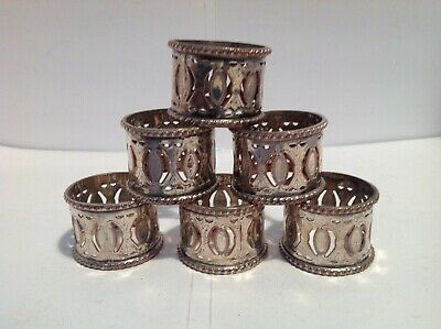 Attractive Set Of Six Silver Plated Pierced Napkin Rings