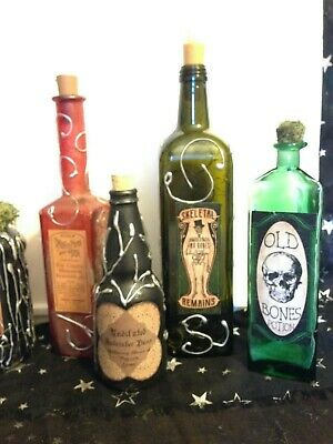 Halloween flicker candle light  Apothecary Potion bottle set prop Spooktacular