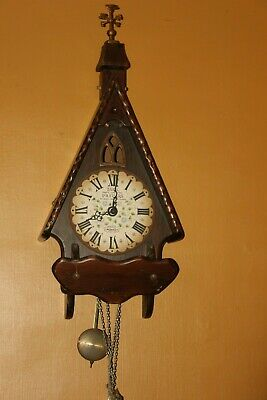 Vintage New England Co Cathedral Regulator Wall Clock  WORKS