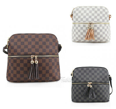 New Women Small Checkered Tassel Luxury Shoulder Bag Crossbody Messenger Handbag