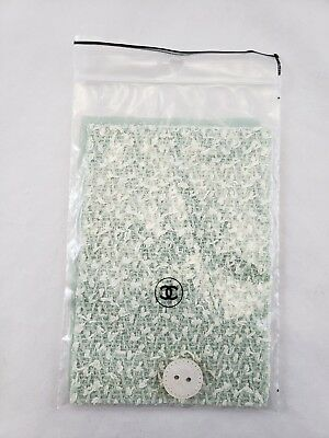 Chanel Vintage Replacement Button & Fabric Swatch Green Pearl Abalone White