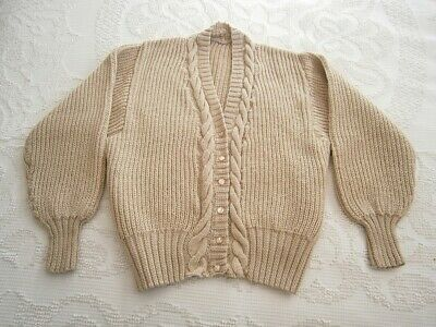 Vintage Hand Knitted Wool Cable Knit Cardigan Jumper Womens Sweater!! Beige Tan