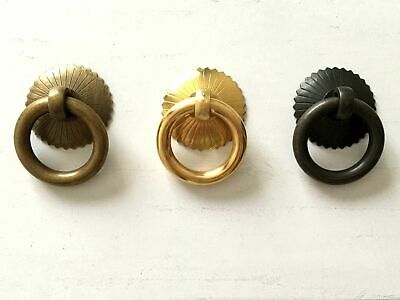 Vintage Style Small Brass Ring Drawer Pull Dresser Knob Antique Bronze Black