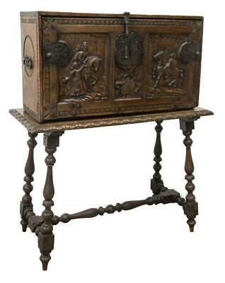 Chest on Stand, Spanish Carved Vargueno Doc., 18th C., 1700s, Handsome Antique!!