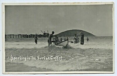 """1910 Rp Npu J. H. Howarth Postcard """"Sporting In The Surf Coff's"""" Harbour Nsw F56"""